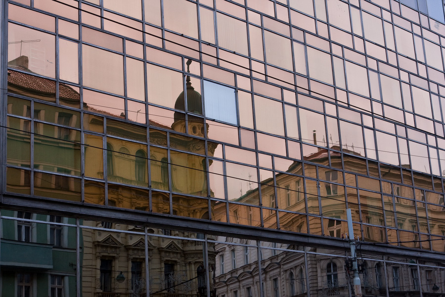 Prague, City streets, Reflection