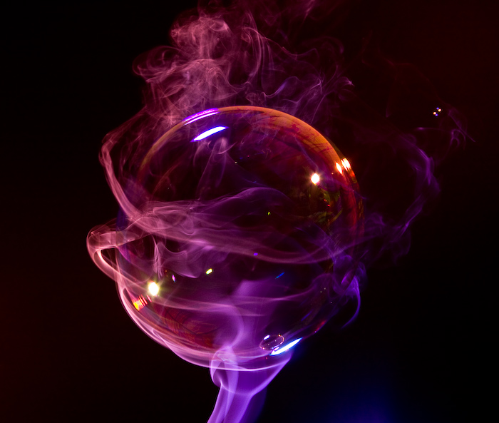 Soap bubble and Colored Smoke