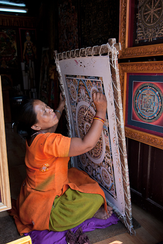 Nepali Woman Drawing Mandala
