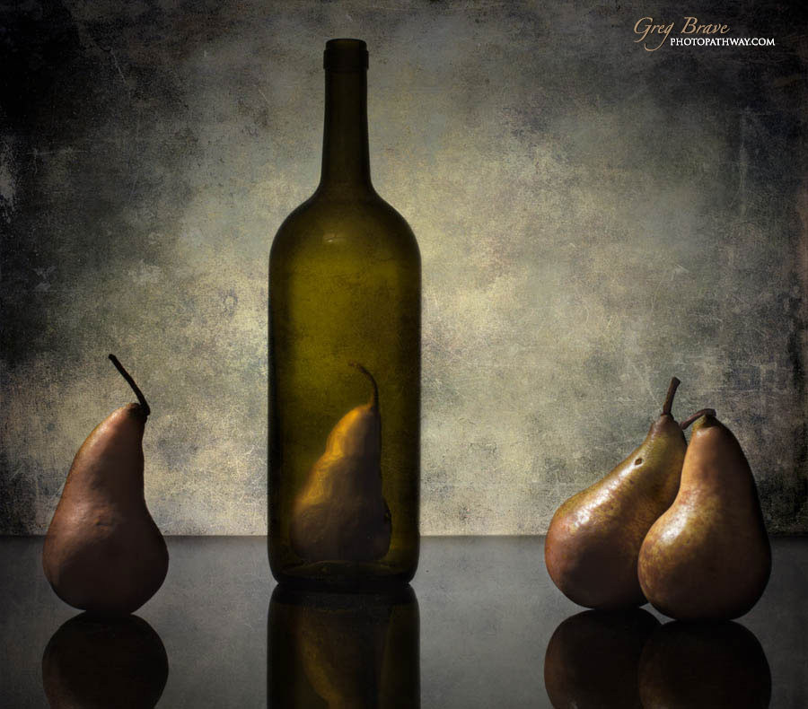 Still life with bottles and pears in color by greg brave