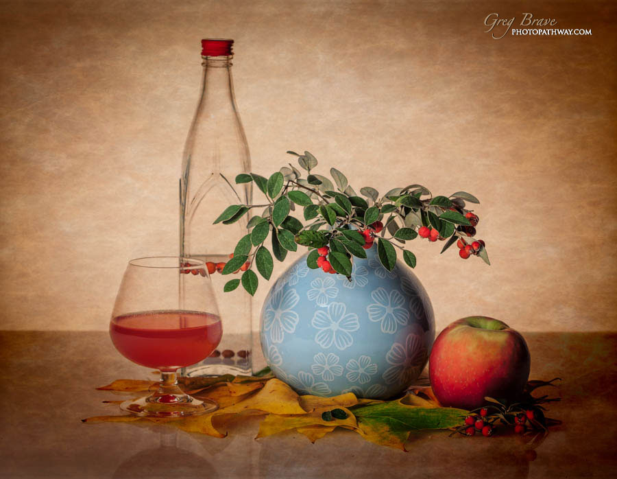 Still life with bottle vase apple and glass in color by greg brave