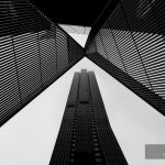 Melbourne CBD architecture - metal scultpture and skyscraper in black and white