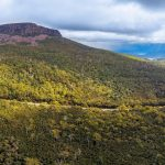 Aerial panorama of mountains and forest above Highland Lakes Road, Liffey, Tasmania, Australia