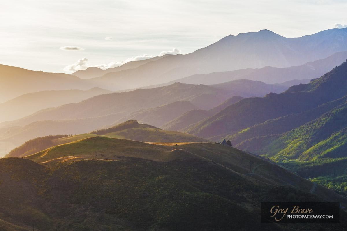 Beautiful hills of Canterbury near Hanmer Springs at sunset, South Island, New Zealand