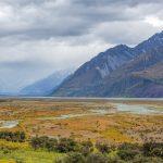 Beautiful Tasman River at Aoraki Mount Cook National Park, Canterbury, South Island, New Zealand