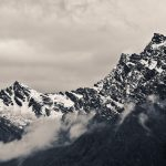 Rugged snowy mountain peaks in Himalayas, Nepal