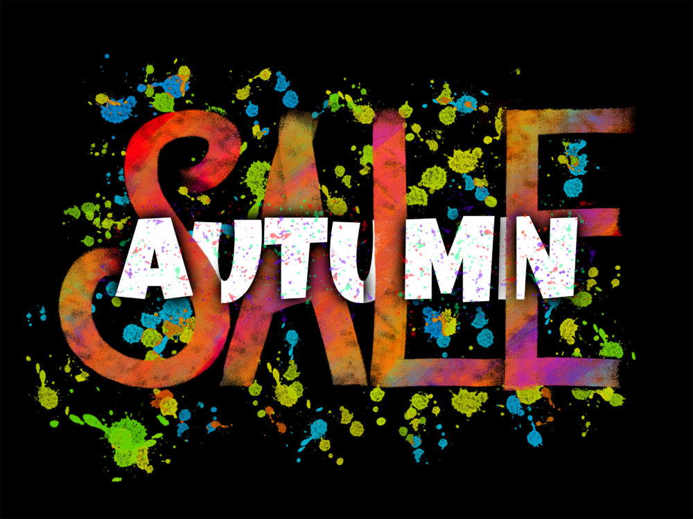 Autumn Sale lettering composition with glowing ink blots on black background