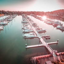Aerial view of boats moored at Safety Beach Marina at sunset. Melbourne, Victoria, Australia