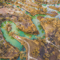 Aerial view of red car at the edge of beautiful winding Murray River in Riverland, South Australia - adventure and travel concept