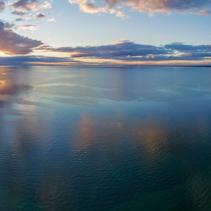Aerial panorama of sunset on Mornington Peninsula with Frankston Pier and coastline