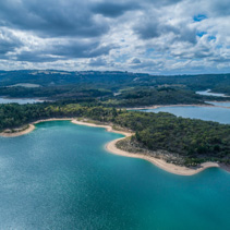 Aerial view of scenic lake in Victoria, Australia