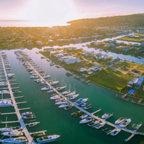 Aerial panorama of Safety beach suburb and marina with Port Phillip Bay as background. Melbourne Victoria, Australia