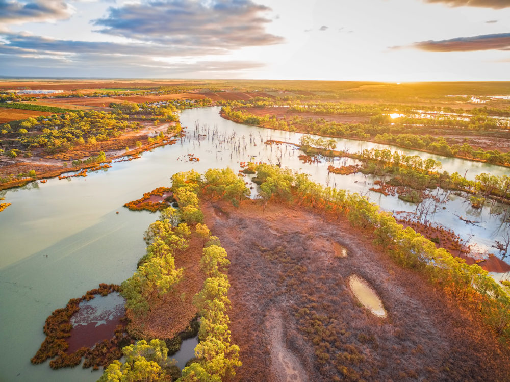 Aerial view of Murray River at sunset. Riverland, South Australia