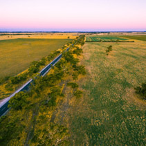 Rural pastures and meadows in Australia at sunset aerial view wi