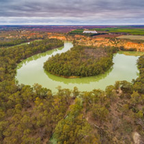 Meandering Murray River in South Australia - aerial view