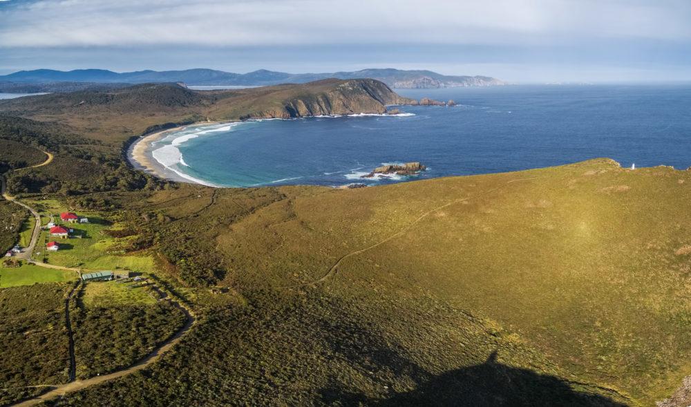 Aerial view of South Bruny National Park. Bruny Island, Tasmania