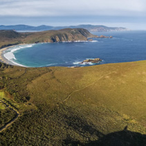 Aerial view of South Bruny National Park. Bruny Island, Tasmania