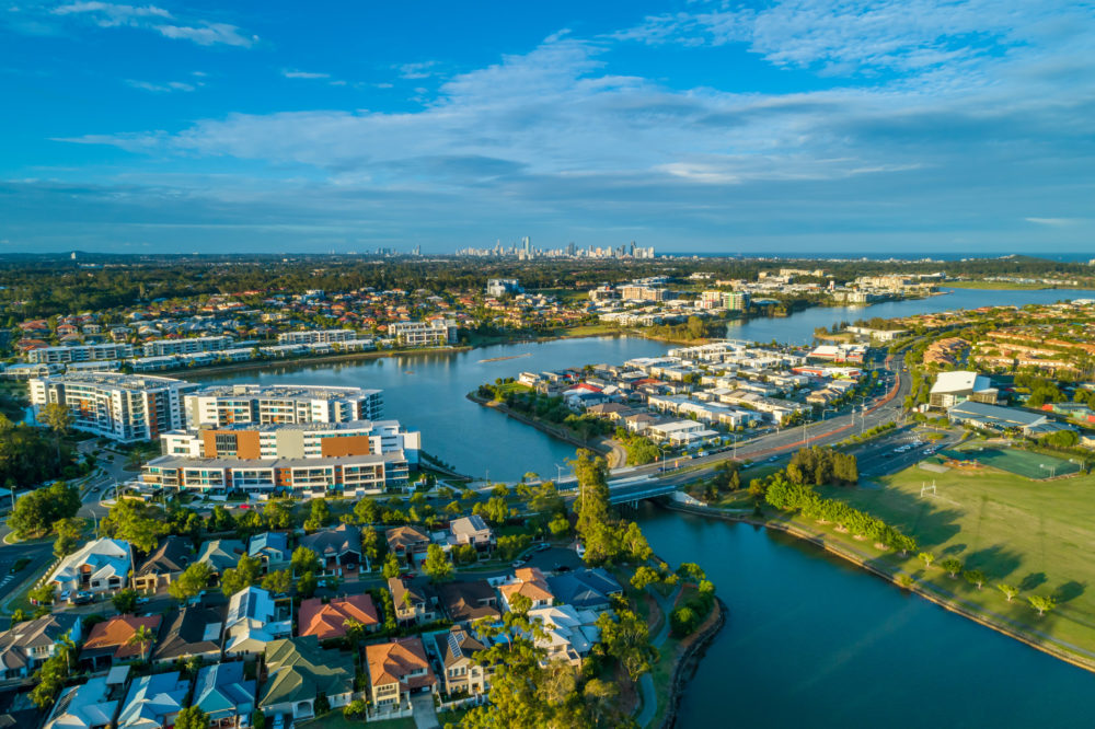 Aerial view of luxury real estate of Varsity Lakes suburb on Gold Coast, Queensland, Australia