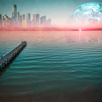 Alien planet landscape - Long wooden pier stretching into the ocean at sunset with modern city skyscrapers skyline and planet on the horizon. Elements of this image are furnished by NASA