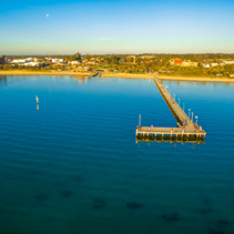 Aerial panorama of Frankston pier and foreshore. Melbourne, Australia