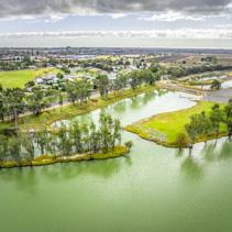 Murray River and Berri town in Riverland, South Australia - aerial panorama