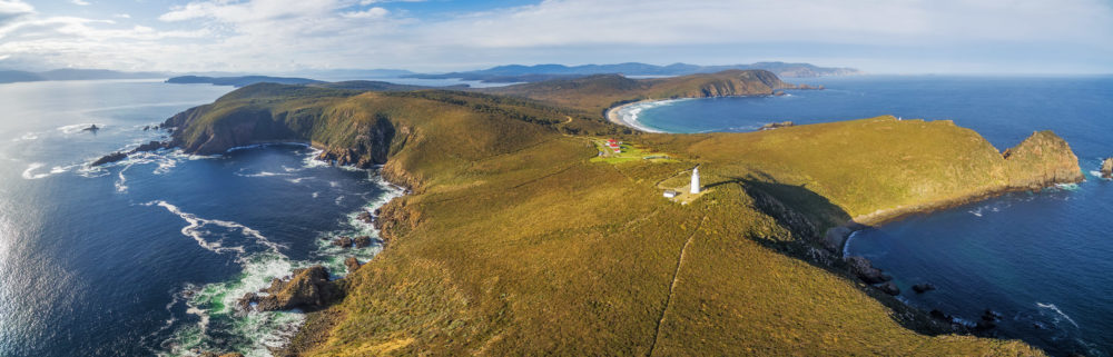 Aerial view of South Bruny National Park and Lighthouse. Bruny I