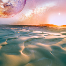 Alien landscape of sunrise over pristine sand dunes with lonely person walking. Elements of this image furnished by NASA