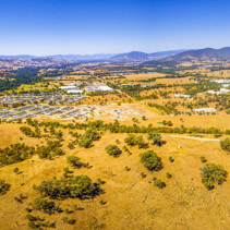 Aerial panorama of small rural settlement in Australia