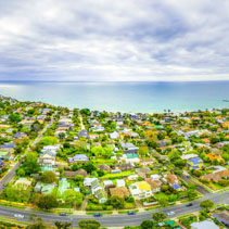 Aerial panorama of suburban area on Mornington Peninsula, Australia
