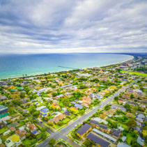 Aerial view of Frankston suburb on Mornington Peninsula, Victoria, Australia