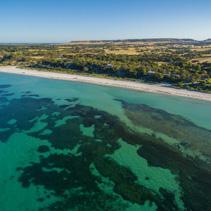 Emu Bay coastline aerial view. Kangaroo Island, South Australia.