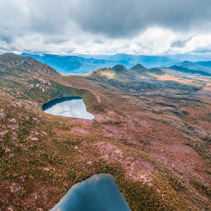 Aerial view of Lake Osborne and Lake Perry in Hartz Mountains National Park. Tasmania, Australia