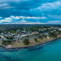 Wide aerial panorama of Mornington Peninsula Coastline near Frankston at dusk
