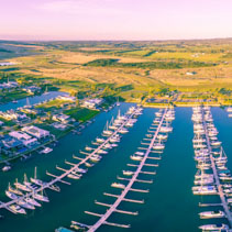 Aerial panorama of luxurious Marina and Suburb on Mornington Peninsula, Victoria, Australia