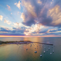 Aerial view of Port Phillip bay and Mornington Peninsula at sunset. Melbourne, Victoria, Australia