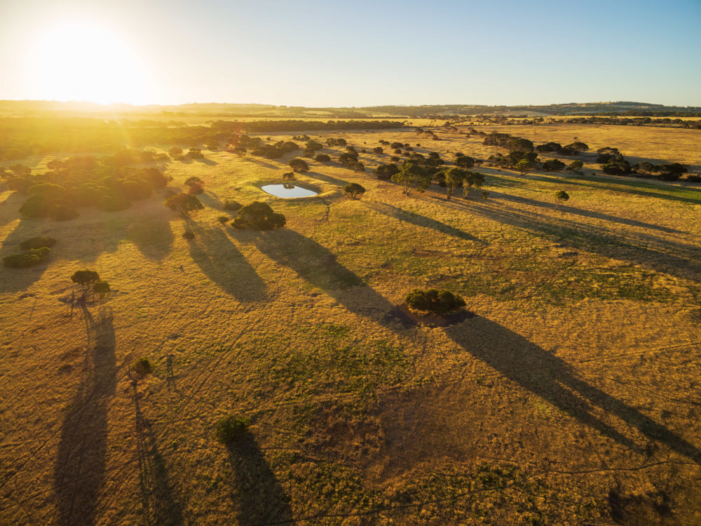 Kangaroo Island rural area at sunset aerial view.