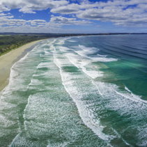 Aerial panorama of beautiful ocean beach in Australia