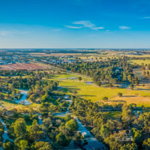 Australian countryside at sunset near Moama, NSW - aerial panorama