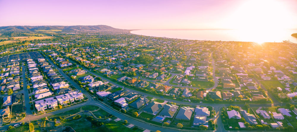 Aerial view of the beautiful Mornington Peninsula suburbs at sunrise. Melbourne, Australia
