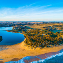 Hopkins river mouth and surrounding countryside at sunset - aerial landscape