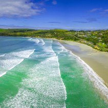 Aerial panorama of Cape Bridgewater beach, Victoria, Australia