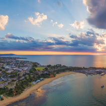 Aerial panorama of beautiful coastline in Australia at sunset. Melbourne, Victoria, Australia