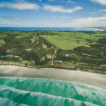 Aerial view of Cape Bridgewater settlement in Victoria, Australia