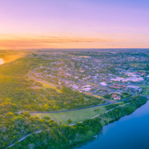 Vivid sunset over Warrnambool and Hopkins River - aerial panorama