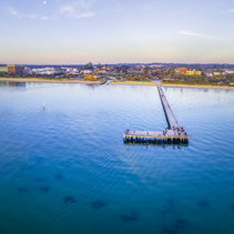 Aerial panorama of Frankston waterfront at dusk. Melbourne, Australia