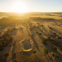 Kangaroo Island pastures and meadows at sunset aerial view.