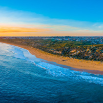 Warrnambool ocean coastline at sunset - aerial panorama