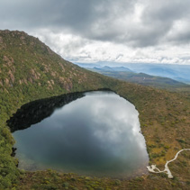 Aerial panorama of Lake Esperance, Hartz Mountains National Park, Tasmania, Australia