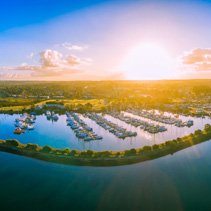 Aerial panorama of beautiful marina at sunset. Melbourne, Victoria, Australia