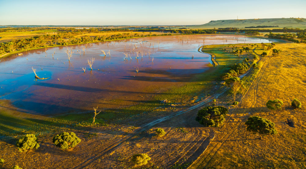 Discovery Lagoon at sunset aerial view. Kangaroo Island, South A